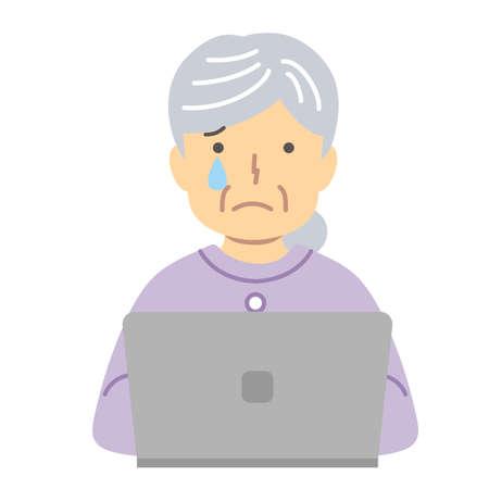 Senior lady in purple closures/tears