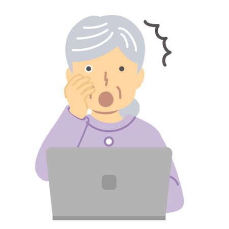 Senior lady in purple closures/surprise