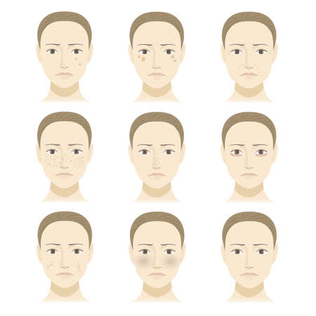 Female face skin trouble illustration set