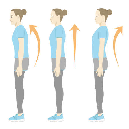 Woman in training clothes / posture Illustration