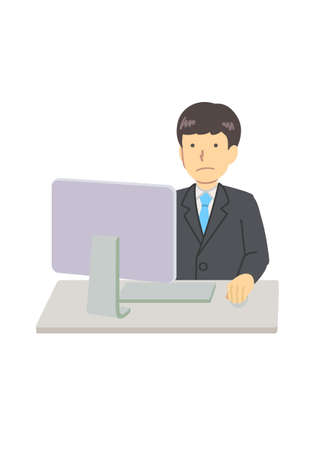 A man using a computer in a suit Illustration