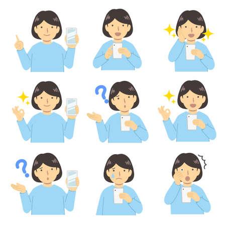 Girl set using a smartphone