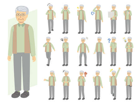 Senior man illustration set in green clothes