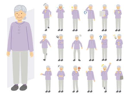 Illustration set of senior woman wearing purple clothes 矢量图像