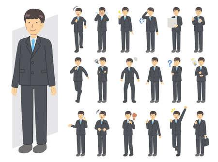 Men in suit illustration set