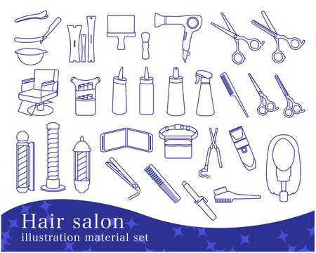 Hair Salon Illustration Material Set / Line Drawing Illusztráció