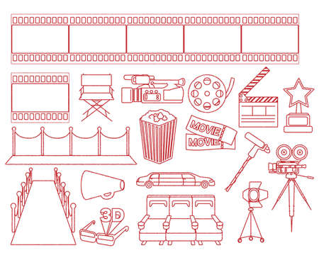 Movie motif illustration set/line drawing Illusztráció