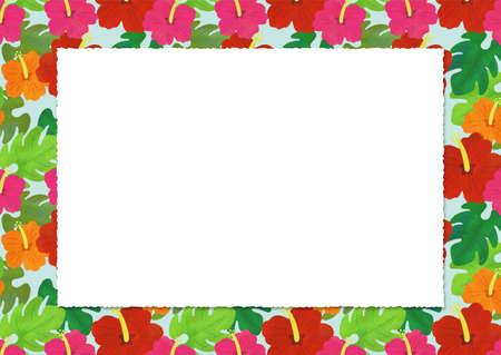 Lively hibiscus background illustration material