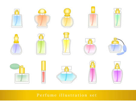 Perfume illustration set / vector