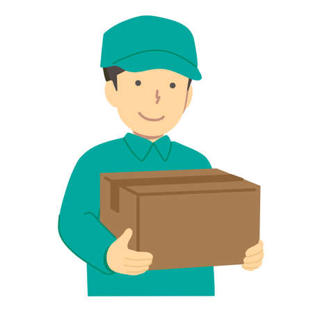 Deliveryman with luggage / vector Stock Illustratie
