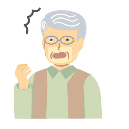 Illustration of a senior man with a tan