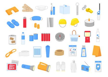 Disaster prevention goods set illustration