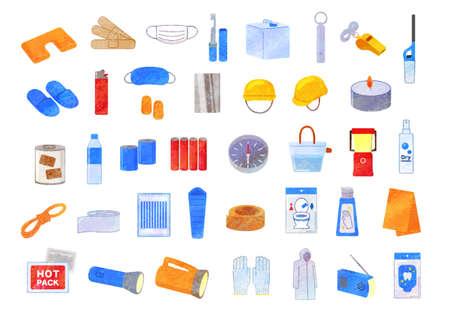 Disaster Prevention Goods Set Illustration / analog style