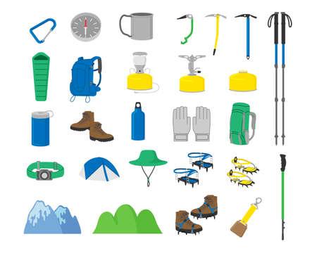 Mountain climbing goods illustration material Vetores