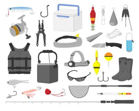 Fishing equipment illustration material set