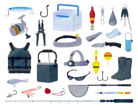 Illustration Material Set for Fishing Tools / analog style