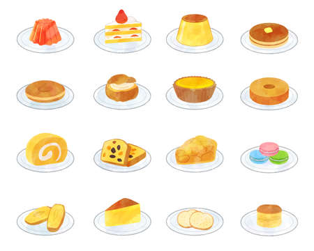 Sweets illustration material set / analog style