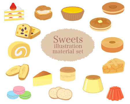 Sweets illustration material set / Vector