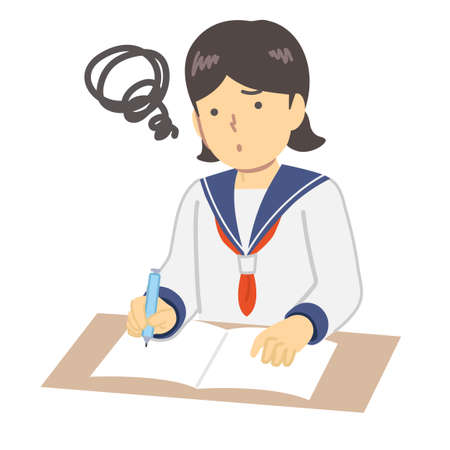 Illustration of a girl in a sailor suit to study