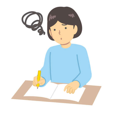 Illustration of a girl in light blue clothes to study Illusztráció