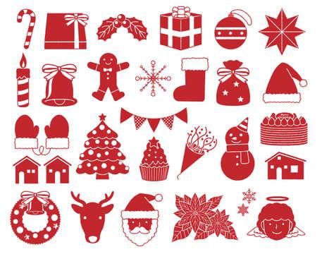 Christmas illustration material set / silhouette