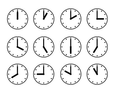 Clock icon illustration set material