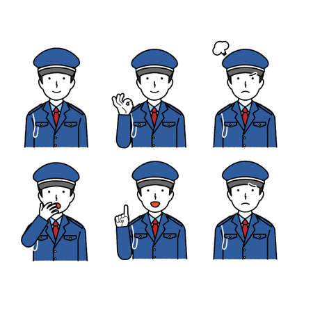 Male security guard facial expression illustration set, collection