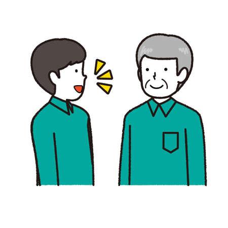 Two staff in work clothes: conversation Vector Illustratie