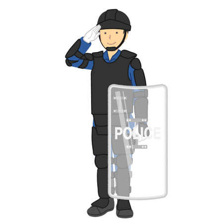 Male police officer: riot police equipment, etc.