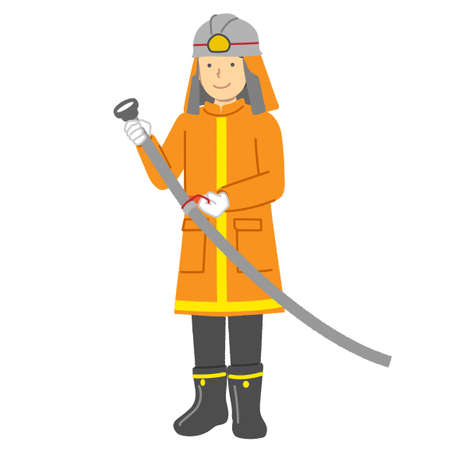 Illustration of a male firefighter : Occupation