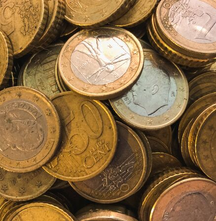 Euro coins background with zenith view .