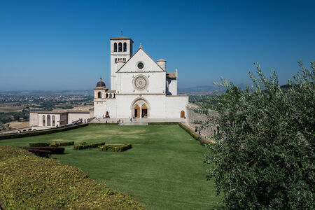st  francis: Basilica of St  Francis in Assisi in a summer day