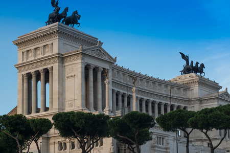 altar of fatherland: ROME, ITALY - Majestic Altar of the Fatherland in early mornig in Rome, Italy. The monument is also known as National Monument to Victor Emmanuel II, designed in 1885 and completed in 1925.