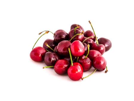 hazel branches: Cherries on white background
