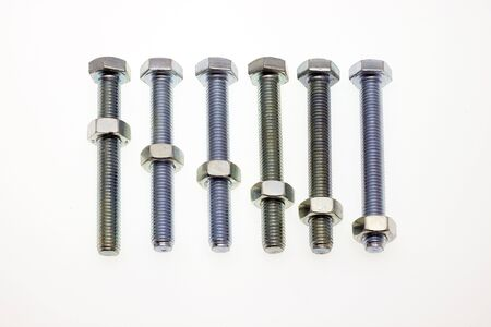 Composition of mechanical screw on white bottom