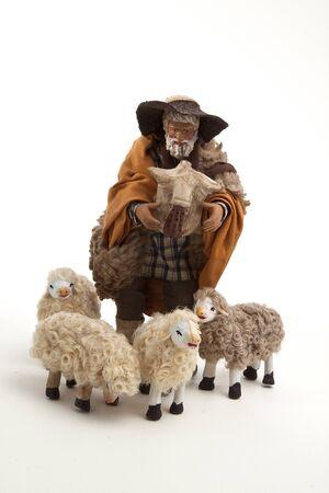 Il pastore e le sue pecore del presepe Archivio Fotografico - 8398024