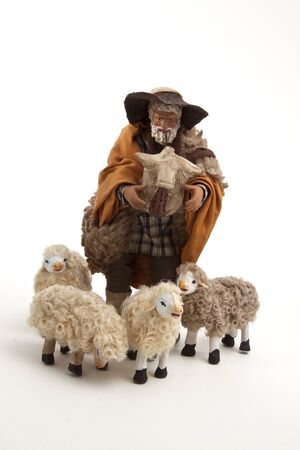 The shepherd and his sheep of the crib photo