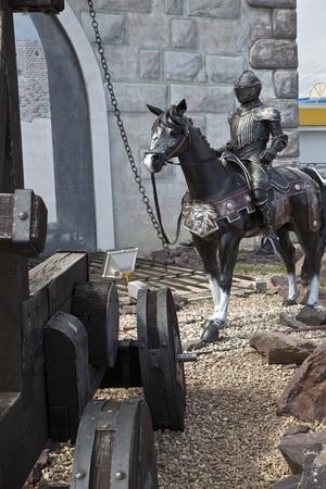 Soldado medieval a caballo Foto de archivo