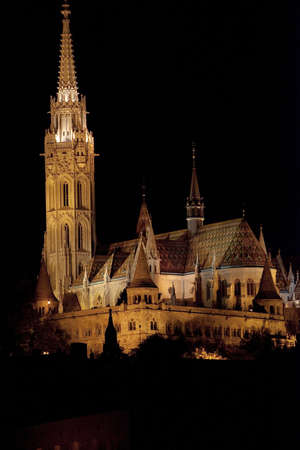 schulek: ancient church at night in Budapest Stock Photo