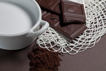 Milk chocolate on the table photo