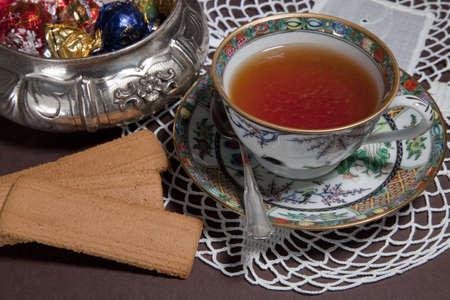 Tea in precious chinese porcelain photo