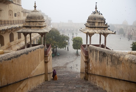 The castle in India in the fog Stock Photo - 12567826