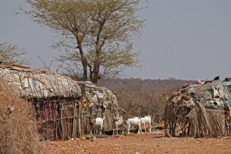village in the savannah in Kenya Stock Photo