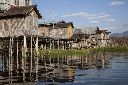 Myanmar, village on the lake Stock Photo - 17831615