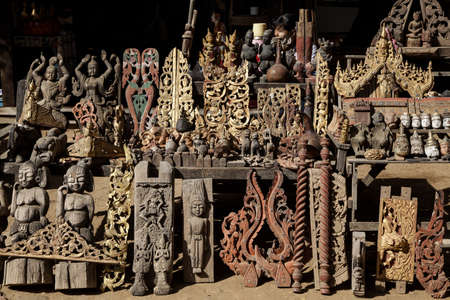 market in Myanmar, carved wood Stock Photo - 17831689