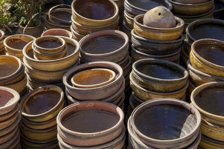 Myanmar, earthen pots to the market Stock Photo - 17831760