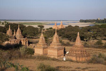 stupas: Myanmar  stupas to the river