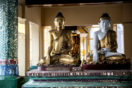 Myanmar, statues of Buddha in the temple Stock Photo
