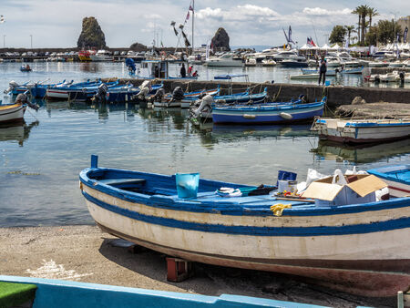 Fishing boat in the harbor, Sicily Editorial