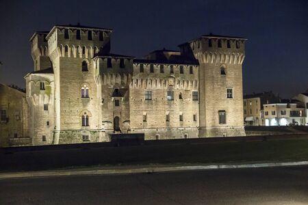 Mantua, castle of Gonzaga by night Editorial